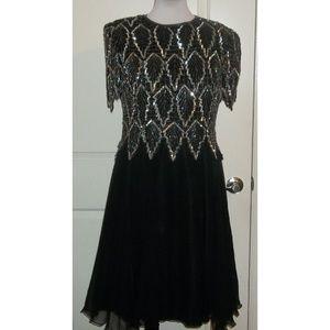 Vintage 80's sequined cocktail dress 100% silk EUC